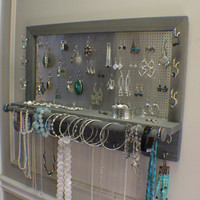 You Get To Pick The Stain, Mesh and Hook Color, Wall Mounted Jewelry Organizer with Bracelet Bar, Necklace Holder