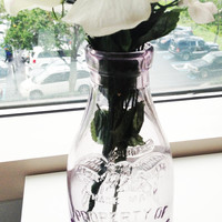 Borden's Condensed Milk Co - Purple Glass bottle vase