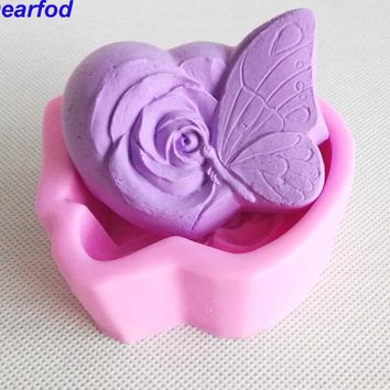 9769 Butterfly Flower Shape  Fondant Silicone Mold for Soap Mooncake Chocolate make  Kitchenware  DIY Tool