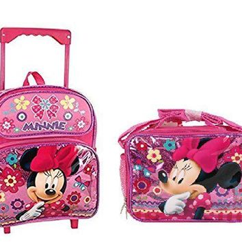 "Disney Minnie Mouse Shine Pink 16"" Rolling Backpack With Lunch Bag"