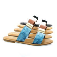 Seashore62s By Bamboo, Women's Flat Strappy Sandal w Double Strap & Adjustable Ankle Strap