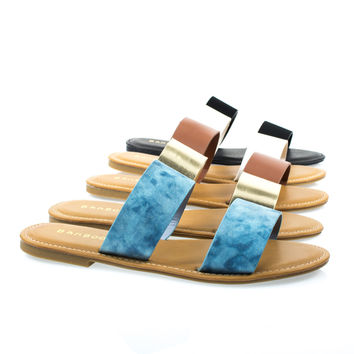 Seashore62s by Bamboo, Women Flat Strappy Sandal w Double Strap & Adjustable Ankle Strap