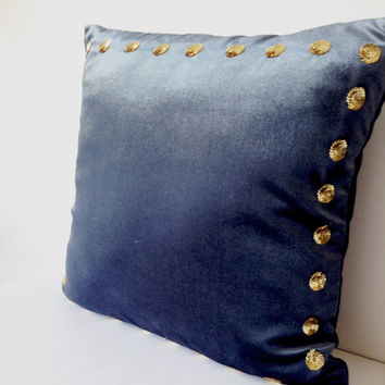Grey Decorative Pillow Cover -Grey Velvet Pillow Case Gold Sequin -16x16 -Sequin Throw Pillows -Gift -Grey Couch Accent Pillow -Sofa Cushion
