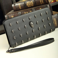skull long design wallet punk rivet