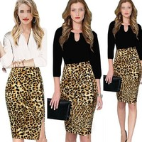 Janecrafts Women's Sexy Leopard High Waistline Cocktail Bodycon Pencil Skirt
