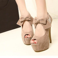 Fashion Round Peep Toe Bow Tie Embellished Stiletto High Heels Apricot Suede Pumps
