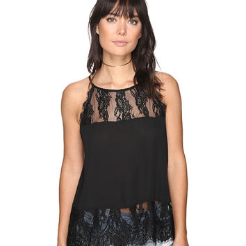 BB Dakota Yasmine Lace Detailed Tank Top Black - Zappos.com Free Shipping BOTH Ways