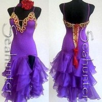 Ld1156 Crystal 35Gross UK12/US10 Latin Mambo Salsa Rumba Dance dress