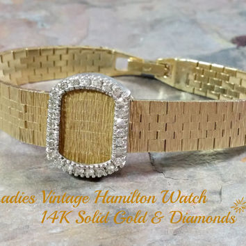 Vintage 14k Gold Watch Ladies Hamilton Gold Diamond Watch Hinged Flip Cover Over Crystal 22 Jewels Works Well Solid Gold Including The Band