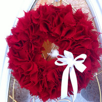 Red Burlap Christmas Wreath Holidays