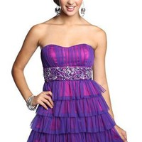 two tone sweetheart mesh tiered homecoming dress - debshops.com