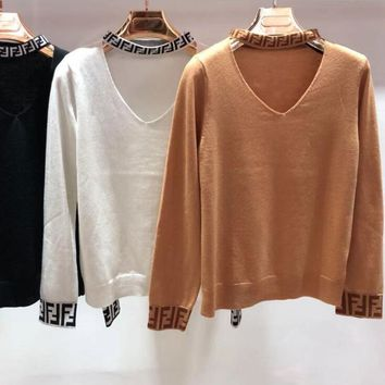 FENDI Fashionable Women V Collar Long Sleeve Knit Pullover Top Sweater Sweatshirt