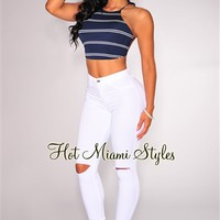 White Ripped Knee High-Waist Skinny Jeans