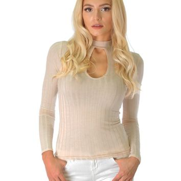 Lyss Loo Glamorous Ribbed Taupe Long Sleeve Cut-Out Top