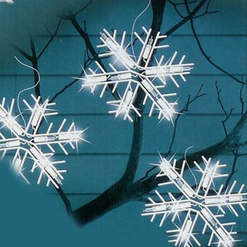 Set of 5 Polar White LED Lighted Snowflake Icicle Christmas Lights - White Wire