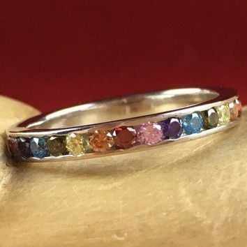 1.5 ctw Colorful Rainbow Gemstone Sterling Silver Channel Set Eternity Wedding Band Ring