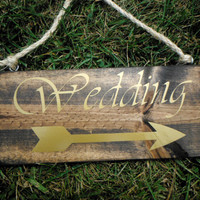 Hanging Double-Sided Wedding/Reception Rustic Sign With Arrow