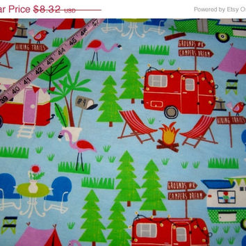 Camping Flannel fabric rvs trailers motorhome camper cotton quilt print quilting sewing material to sew by the yard crafts crafting project
