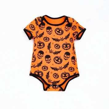 Halloween Newborn Baby Boy Girl Pumpkin Prints Rompers Short Sleeves Jumpsuit Clothes Outfit Costume cosplay Romper