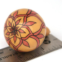 Gourdament: Unique Christmas Ornament from Spinner Gourd - gourd art - handpainted gourd - geometric floral motif - pink and tan