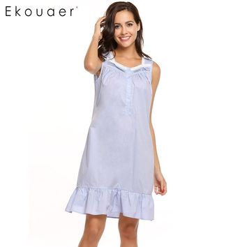 Ekouaer Lace Patchwork Nightgown Women Victorian Style Square Collar Sleepwear Summer Ruffle Hem Button Sleepware Dress