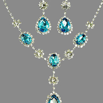 Crystal Bridal Jewelry Set - Blue Rhinestone Necklace Earrings Set - Teal Wedding Jewelry - Turquoise Bridal Set