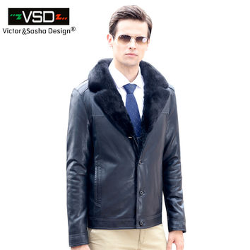 Fashion Men's Coats Imitation Leather Jacket Fashion Mink fur Collar Leather Jackets Men High Quality