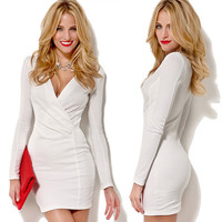 Women Bandage Bodycon Long Sleeve Evening Sexy Party Cocktail Mini Dress 2Colors