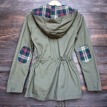 DKJN6 womens plaid hooded military parka jacket - olive green
