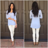 Every Day Charm Blouse - Powder Blue