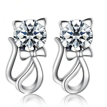 925 Sterling Silver Women Jewelry Elegant Crystal Ear Stud Cute Cat Earrings