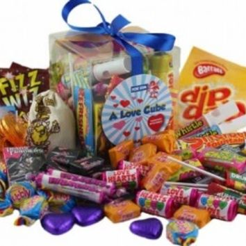 A Love Cube Packed with Retro Sweets - for Him | AQuarterOf