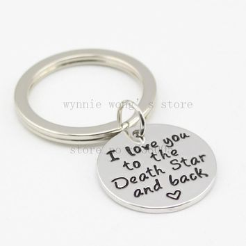 "Hand Stamped Jewelry ""I Love You to the Death Star and Back ""Keychain &necklace Husband Wedding Gift"