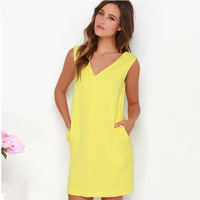 Yellow V-Neck Sleeveless Keyhole Back Shift Dress
