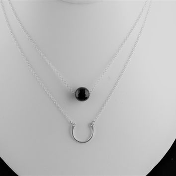 Sterling Silver Horseshoe & Drop Bead Necklace