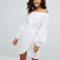 ASOS DESIGN Tall Off Shoulder Linen Mini Dress With Belt Detail at asos.com