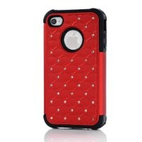 Meaci® Iphone 4 4s Red&black Case Glitter Studded Diamond Dual Layer Protective Case 1x Diamond Anti-dust Plug Stopper(random Color)