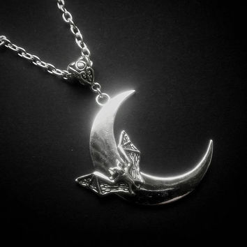 Bat Crescent Pendant Necklace
