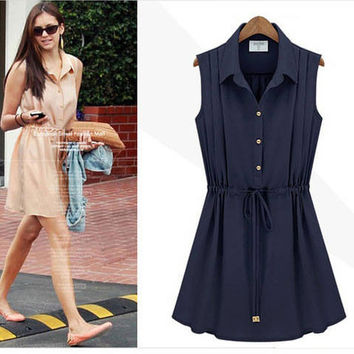 New Fashion Navy Blue Chiffon Sleeveless Dress