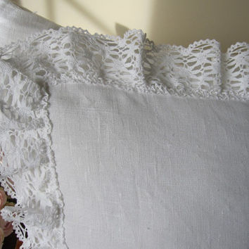 White linen euro shams cotton bobbin lace ruffle trimmed - shabby chic bedding