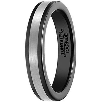 4mm Black Tungsten Carbide Silver Center Wedding Engagement Band Polished Edges