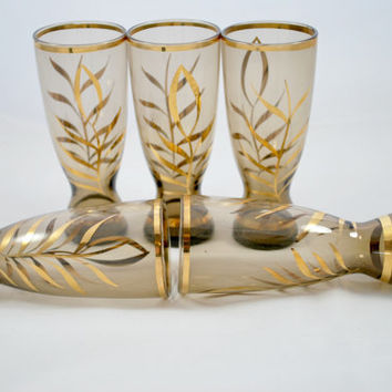 Smokey Shot Glasses Bohemian Brown and Gold  , Retro Barware , Drinks and Cocktails