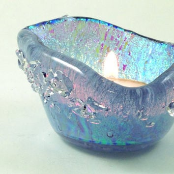Fused  Dichroic Aqua Glass Candle Holder Tea Light  Candle Holder Crystals Small Dish 096