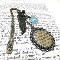 Bronze Word Locket and Feather Bookmark, Blue Heart Bookmark, Beaded Bookmark, Vintage Style Bookmark, Student Gift, Teachers Gift, Locket