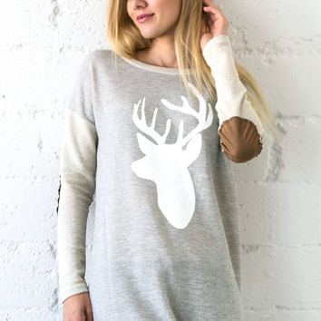 Reindeer Top with Elbow Patches - Oatmeal