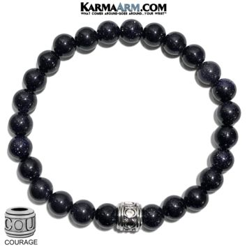 DARE TO DREAM: Blue Goldstone | COURAGE Bead | Meditation Self-Care Yoga Bracelet
