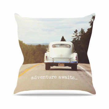 "Angie Turner ""Adventure Awaits"" Green Gray Throw Pillow"