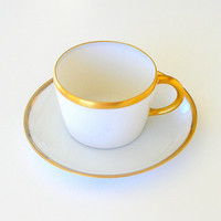 Art Deco Teacup Antique White Porcelain Cup & Saucer Hand Painted 24K Gold Trim 1910