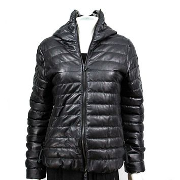 Duvetica Womens Leather Goose Down Puffer Coat Black US 6