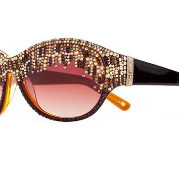 Jeweled Turkoman Style Designer Sunglasses With Brownish Gradient Shades And Assorted Swarovski Crystals